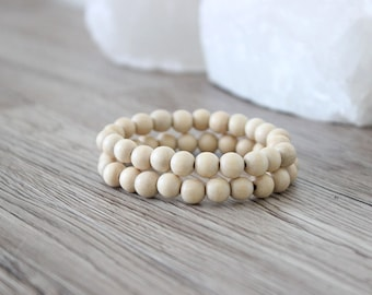 Wood Bead Bracelet  - 2 Pack / Natural / Stacking Bracelets / 8mm Wood Beads / Men's Bracelet / Men's Wood Bracelet / Stretchy / Round Beads