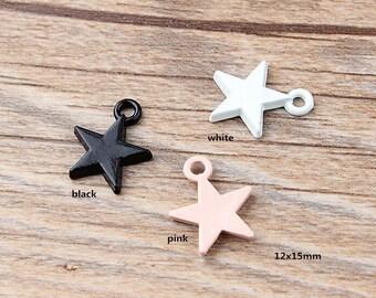 10PCS, 12x15mm, Enamel Charm, Star Charm, Enamel Star, Enamel Jewelry, Bracelet Charm, Craft Supplies