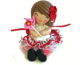 Girl 1st Birthday, Pinwheel Cake Topper, Pinwheel Theme Party, First Birthday, 2nd Birthday, Little Girl Birthday, Clay Cake Topper