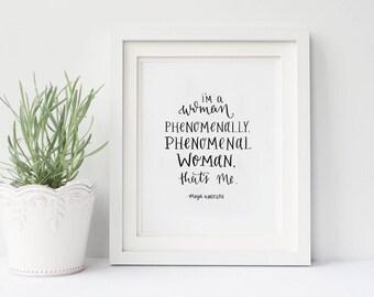 Fundraising - Phenomenal Woman Quote - Donation - Original Calligraphy - Maya Angelou - Printable Art - Digital Download - Poetry