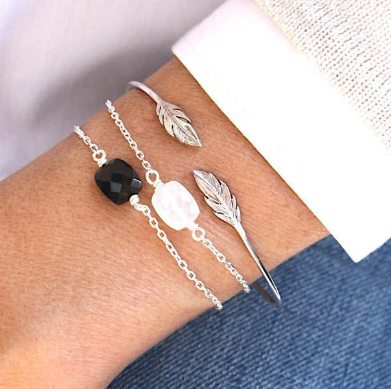 Bracelet chain faceted black agate gem stone 925 sterling silver