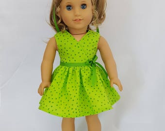 """Lime green pokadot dress fits 18"""" dolls such as American Girl"""