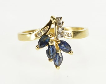 14k Marquise Sapphire Diamond Cluster Freeform Ring Gold