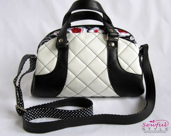 White Quilted Recycled Leather Retro Zippered Purse/ Red Flower Accent Fabric Black and White Shoulder Bag/ Eco-Friendly Bowling Bag