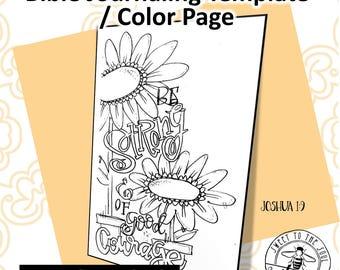 "Scripture Color Page / Journaling Template ""Joshua 1:9""- digital download"