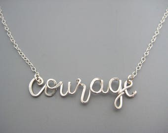 Courage Necklace - spiritual choker, inspirational jewelry, cursive word on delicate sterling silver chain