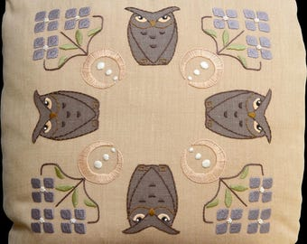 Roycroft Artisan Embroidery Kit for the Owl Brothers Pillow, Craftsman, Arts and Crafts