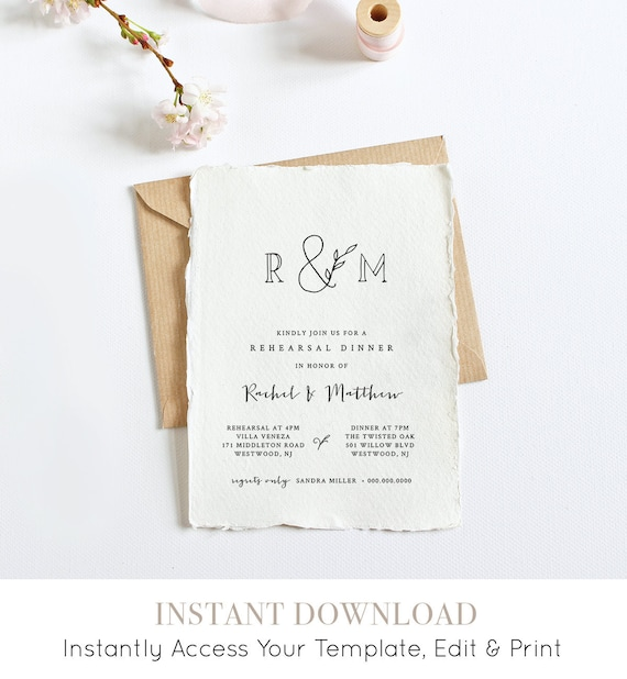 Rehearsal Dinner Invitation Template, INSTANT DOWNLOAD, 100% Editable, Self-editing Printable, Monogram Invite, Templett, DIY #042-124RD