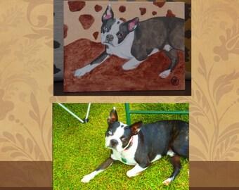 Custom colorful pet portrait acrylic painting 5x7