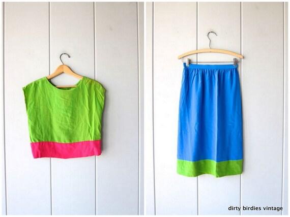 Oscar De La Renta Silk Top & Skirt Matching Set 80s Minimal Silk Crop Top Pencil Skirt Lime Green Pink Blue Modern Outfit Womens Small XS