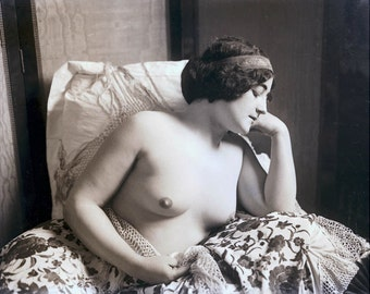 Photograph Art Nude Mature Print Artist Model French Woman Thoughtful Repose 1900