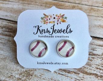 Baseball Druzy Studs, Sports Earrings, Custom Earrings, Cute 10mm, Wedding, Bridal, Druzy Jewelry, Druzy Earrings