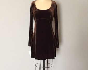 EXPRESS coffee beans brown velvet dress / baby doll empire waist mini dress / small