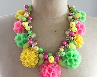 SALE 1950's Vintage Repurposed Flower Jewelry Necklace OOAK