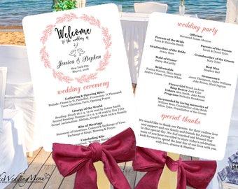 Wedding Program, Wedding Program Fan, Wedding Fan Template, Wedding Program Fans, Order of Service, Wedding Fan Program,Fan Programs PDF 008