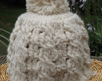 Crochet Cable Pom Pom Hat, Crochet Pattern Pdf, Instant Download Available
