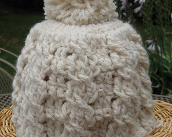 Crochet Cable Pom Pom Hat, Crochet Pattern Pdf, Instant Pattern Download Available