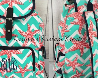 Monogram backpack, Coral Starfish backpack, Chevron backpack, Monogram  backpack, personalized gift, gift for her
