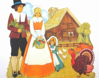 Vintage Male and Female Pilgrim with House Corn Stalks Turkey Pumpkins Die Cut Cardboard Thanksgiving Decoration by Hallmark