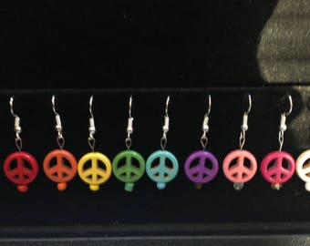 Peace sign synthetic stone earrings