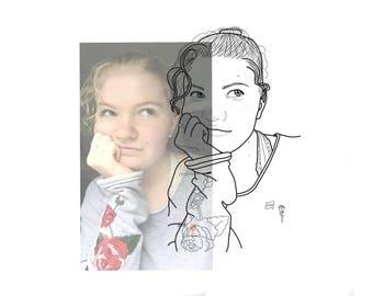 Custom Portrait Outline | Made to Order | Black and White | Digital Download