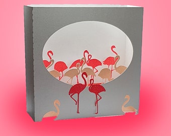 Flamingo box card template