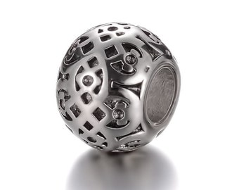 Stainless Steel Filigree European Bead Celtic Charms For European Charm Bracelets #19-ECB