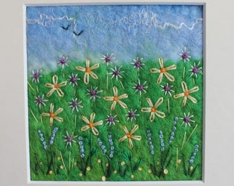 Wet-Felted Flower Meadow Picture With Hand-Embroidery.