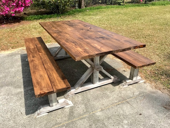 Rustic Pedestal 7ft Outdoor Farmhouse Table With Long Benches