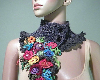 ROMANTIC SCARFLETTE/COLLAR - Wearable Fiber Art, Freeform Crocheted & Hand Crafted Flowers
