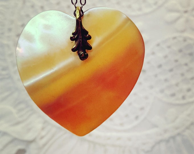 Antique Mother of Pearl Heart Pendant and Filigree Chain Victorian Tatoo Style