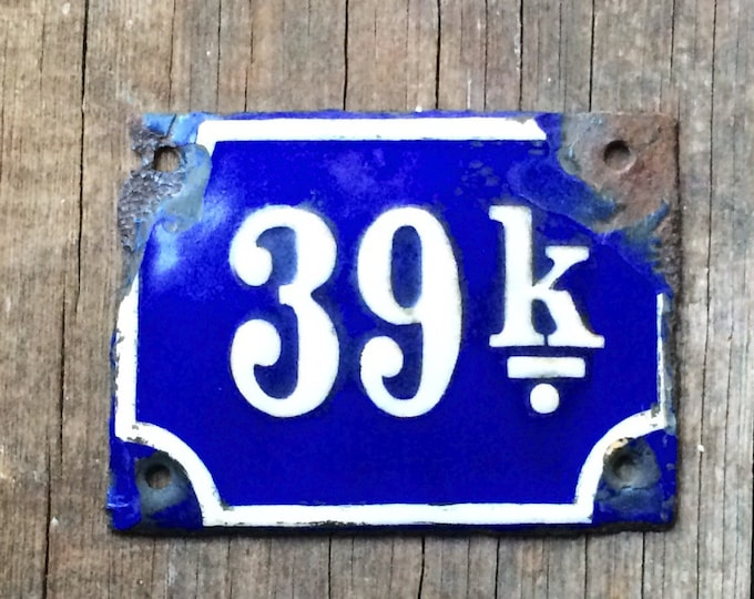 Antique Enamel Vintage Porcelain Sign Cobalt Blue 39 K