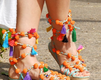 Boho sandals with pompoms.  Espadrilles Alpargatas made in Spain