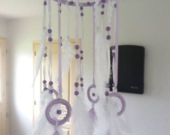 Mobile dreamcatcher, purple and white for child's room or any other - DC10