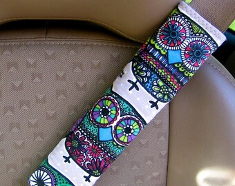 Seat Belt Strap Cover-  Colorful Owls with Reversible Grey and White Polka Dots or Grey Minky.