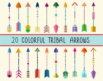 Colorful Tribal Arrows Clip Art - Set of 20 300 DPI PNG, JPG, and Vector Files