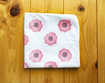 red anemone flower handkerchief | ladies cotton hankie | hand stamped fabric face wipe | eco friendly nose wipe | birthday gift idea