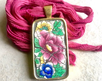 The Queen's Garden - Mosaic Pendant, Broken China Pendant - SHIPS FREE to Continental United States