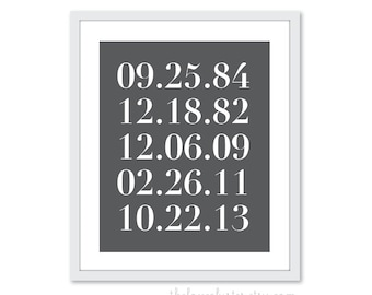 Birthdays Art Print - Numbers Art Print - Important Family Dates - Personalized Anniversary Gift - Custom Numbers - Charcoal Grey