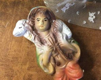 Broken Bisque Shepherd Sheep Nativity Figurine Handpainted Serene Mid Century Mixed Media Assemblage Art Supplies Shabby Chic