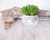 Pastel grey and white concrete planter, Geometric succulent planter, concrete pot, candle holder