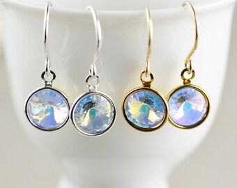 Crystal Disc Dangle Earrings, Holiday Drop Earrings, WInter Earrings, Sparkle Earrings