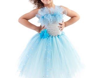 Blue Princess  tutu dress, flower princess tutu costume, Princess tutu,  princess costume, 4 rows of tulle