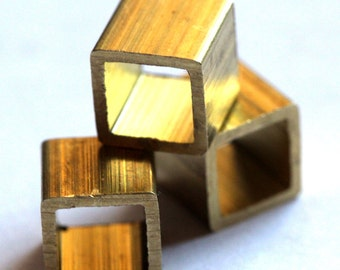 10 pcs raw brass cube 10x10mm (hole 8.8mm) pendant,findings spacer bead bab8 1774