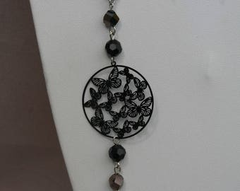 Black metal with Butterfly Necklace