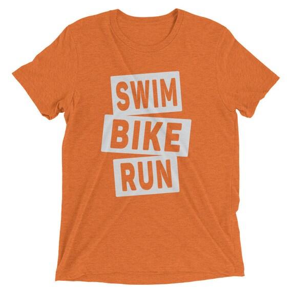 Men's Swim Bike Run Triblend T-Shirt - Triathlon Shirt - 16 Different Shirt Colors Available - Men's Short Sleeve Triathlon Shirt