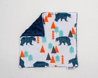 Lovey Woodland Bear. Ready to Ship. Mini Baby Blanket. Baby Shower Gift. Woodland Lovie. Lovie. Security Blanket. Minky Blanket.