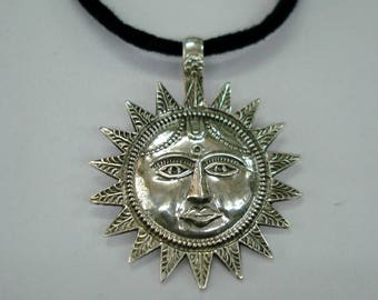 traditional design sterling silver amulet pendant necklace sun god handmade