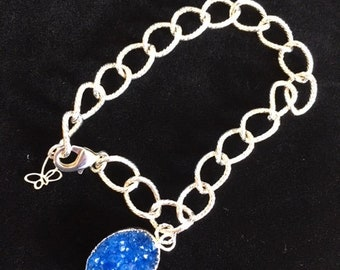 Sparkly Blue Druzy & Sterling Silver Bracelet