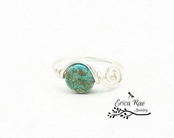 Turquoise ring, gemstone ring, wire wrapped ring, wire wrap ring, turquoise jewelry, gemstone jewelry, boho, wire jewelry, silver ring